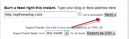 Submit WordPress Blog feed