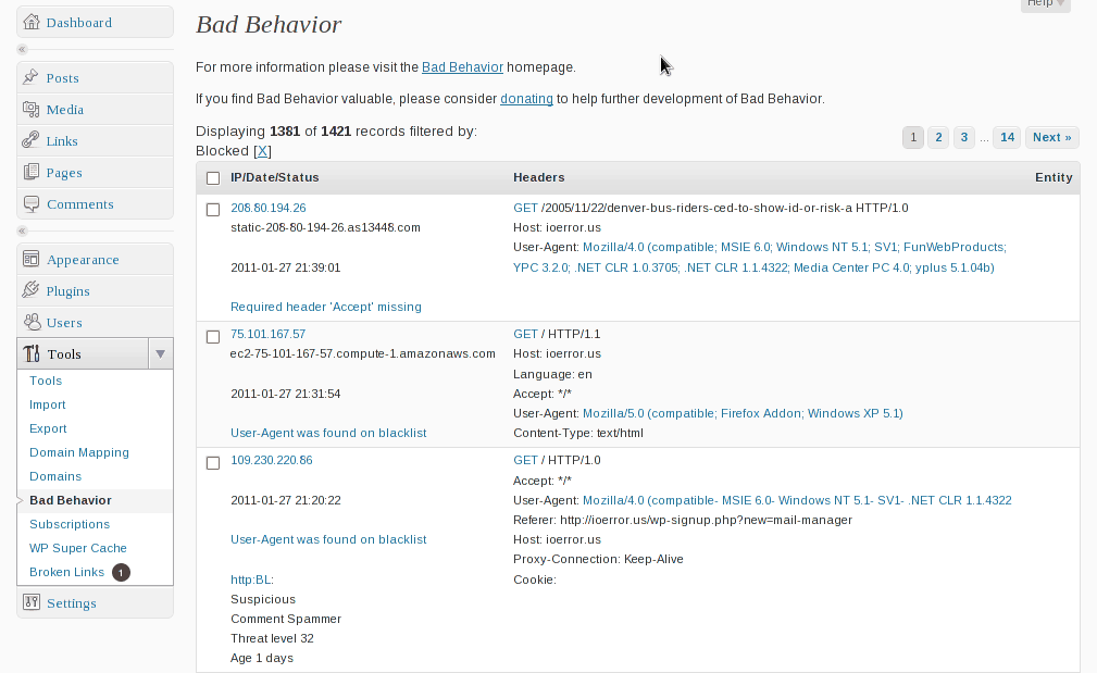 Bad Behaviour WordPress plugin