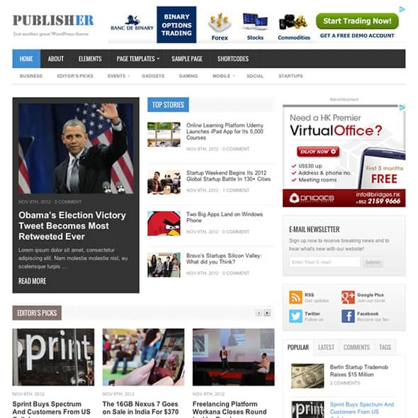 Publisher White Magazine WordPress Theme by ThemeJunkie