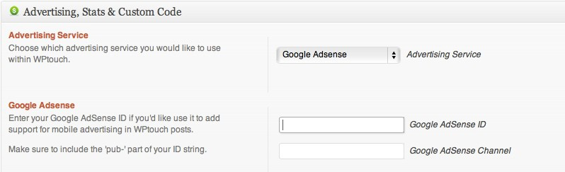 WpTOuch AdSense Option