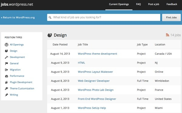 Official WordPress jobs portal