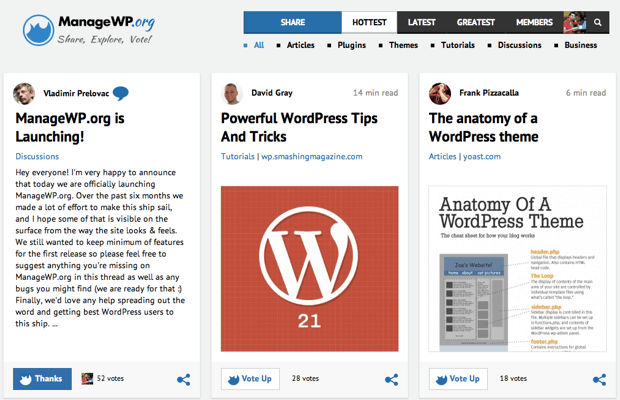 ManageWP: Social Bookmarking Site for WordPress Fans