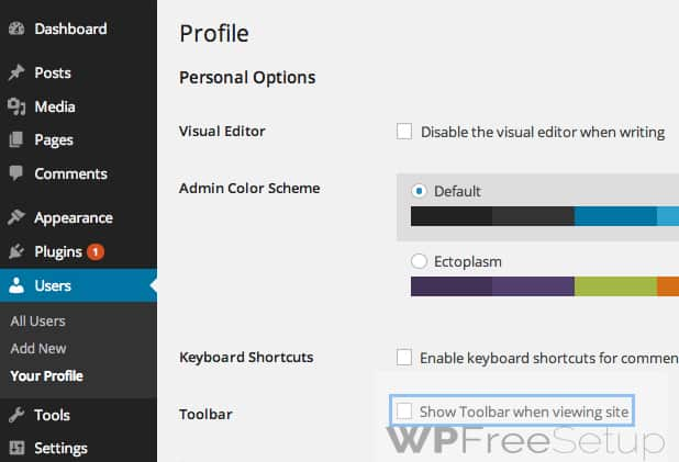 Hide Toolbars - Remove WordPress Admin Toolbar