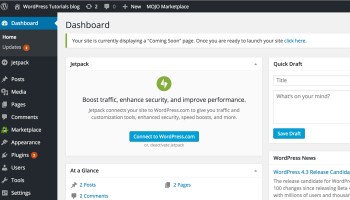 First look of WordPress admin dashboard