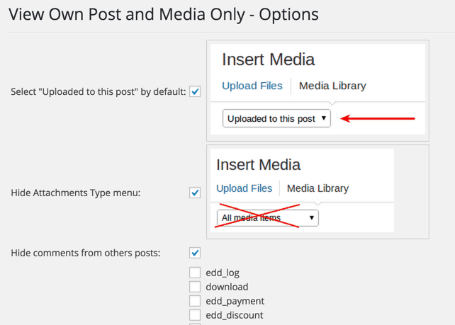 View own posts and media files plugin