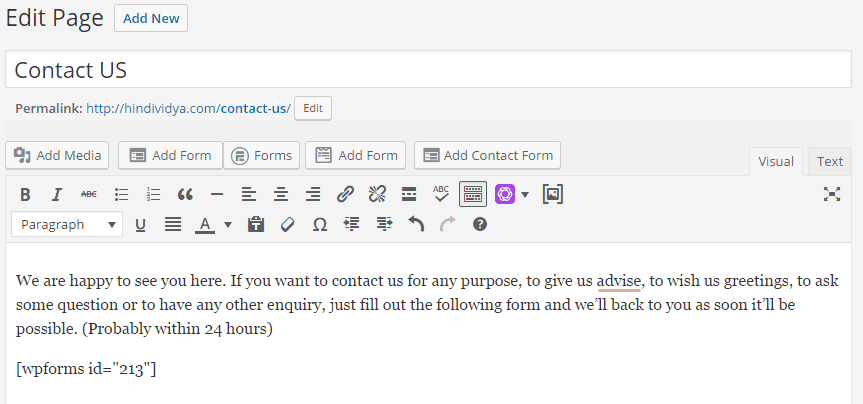 Code to Create Contact Form