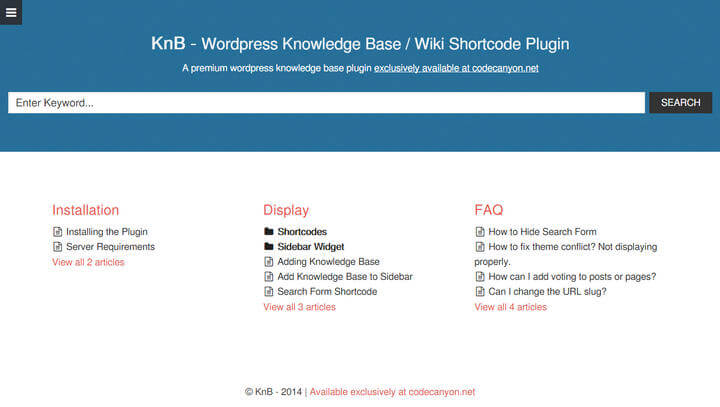 KnB - WordPress Knowledge Base Wiki Shortcode