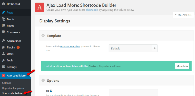 Ajax Load More - Shortcode Builder