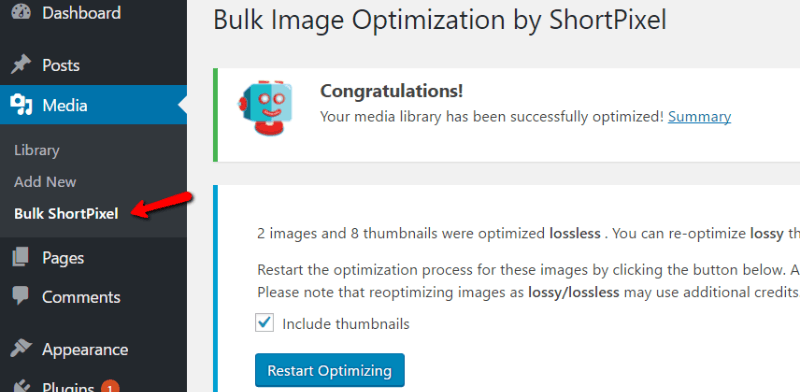 Bulk Image optimization by Shortpixel