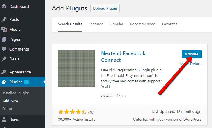 Activate Nextend Connect Plugin