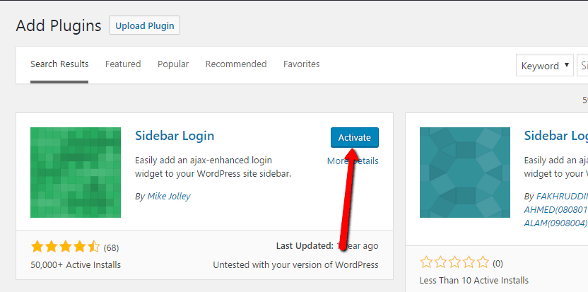 Activate Sidebar Login Plugin