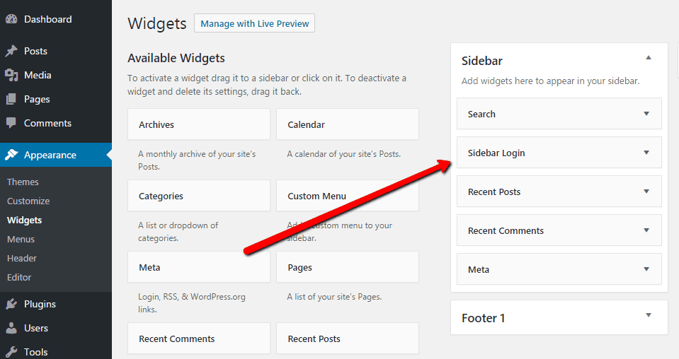 Add Sidebar Login Widget