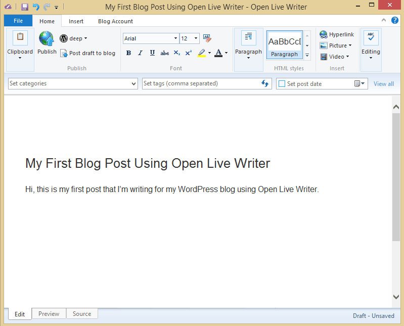Blog Post Using Open Live Writer