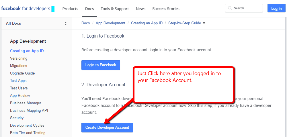 Facebook Developer Account
