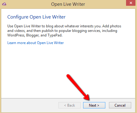 Open Live Writer Setup Option