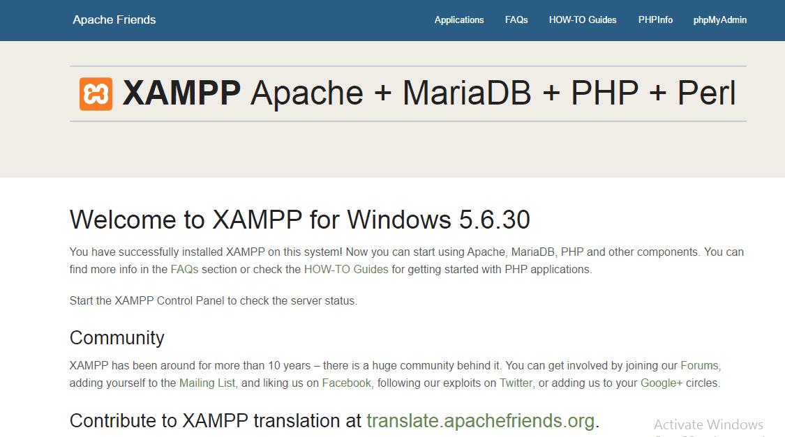 XAMPP Installation Confirmation