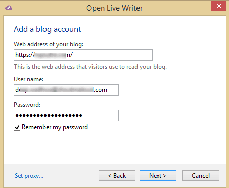 Add Blog Account