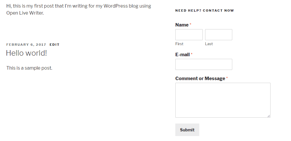 Contact Form In WordPress Sidebar