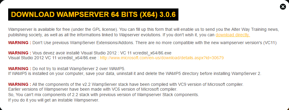Download WAMP 64-bit