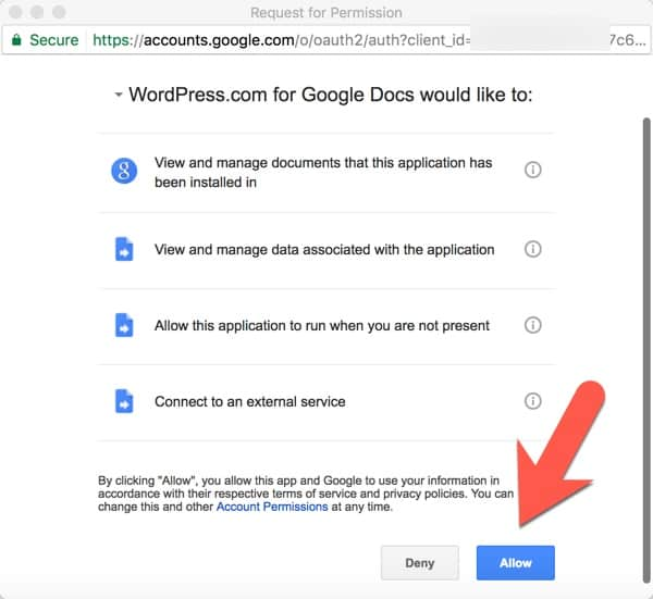 Integrate WordPress.com with Google Docs