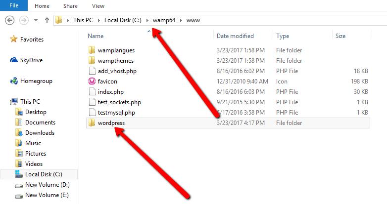 Paste WordPress Folder