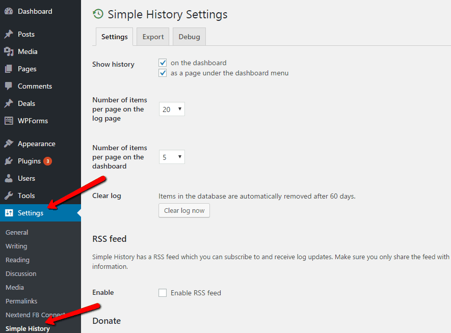Simple History Plugin Settings