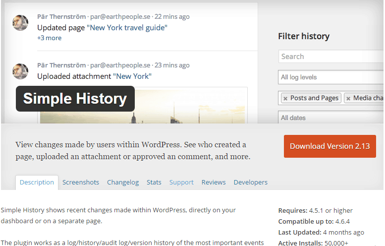 Simple History WordPress Plugin