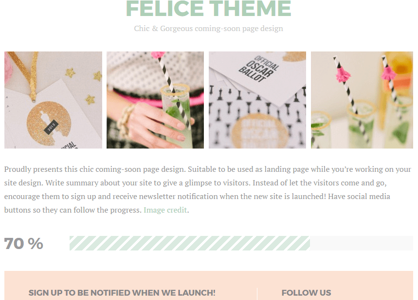 Felice WP Theme - Coming Soon Theme